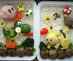 pikachu, bento, and food image