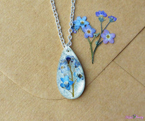 etsy, flower necklace, and pressed flower image