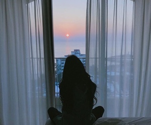 aesthetic, room, and sunset image