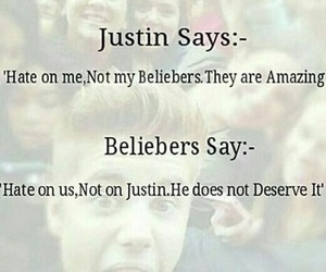 hate, beliebers, and justin bieber image