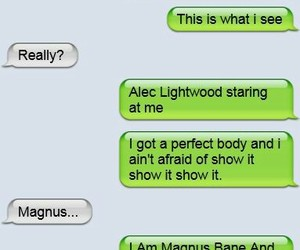 alec lightwood, magnus bane, and funny image