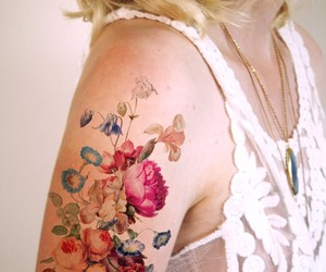 tattoo, flowers, and floral image