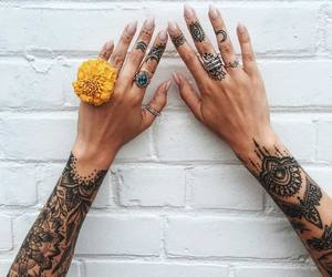 flower, hands, and mandala image