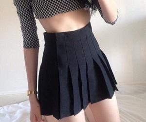 black, legs, and skirt image
