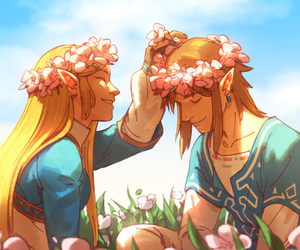 art, flower crown, and flowers image