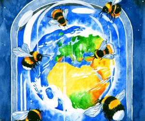 art, bee, and bees image