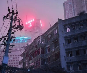 aesthetic, pink, and city image