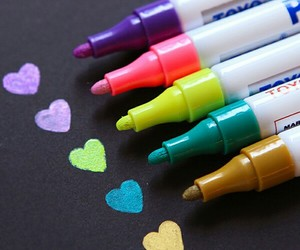 colors, hearts, and pen image