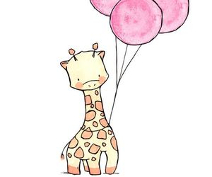 giraffe, animal, and balloons image