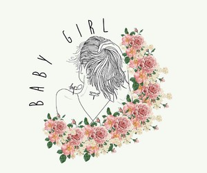 baby girl, drawing, and flower image
