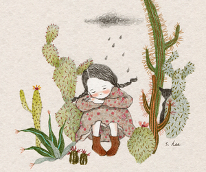 cactus, cat, and girl image