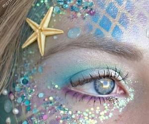 mermaid, makeup, and blue image