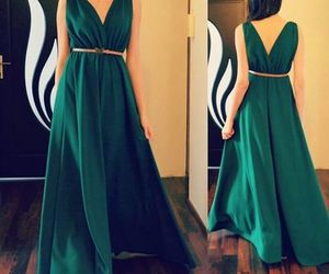 green, prom dress, and satin image