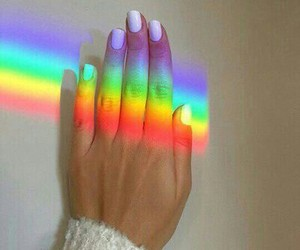 rainbow, nails, and hand image