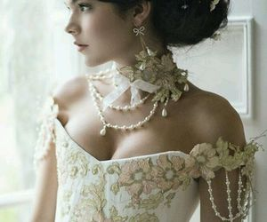dress, hair, and pearls image