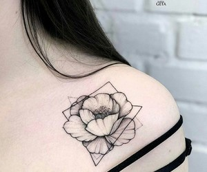 tattoo, flower, and black image