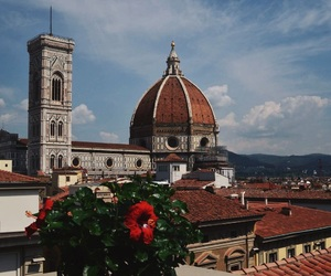 city, florence, and flower image
