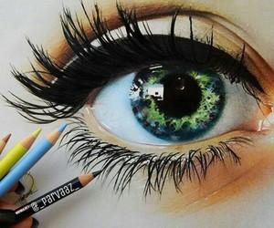art, eye, and green image