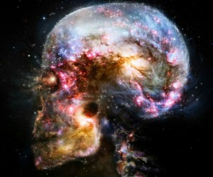 blue, universe, and skull image
