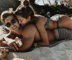 beach, couples, and sand image
