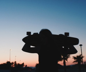 beach, night, and skate image
