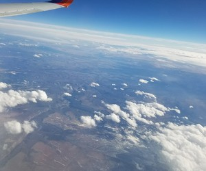 blue, plane, and travel image
