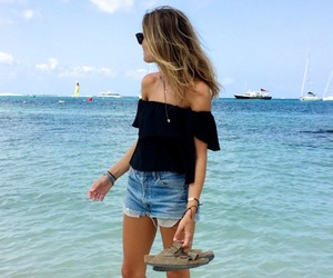 beach, top, and off shoulder image