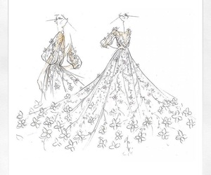 fashion, Marchesa, and sketch image