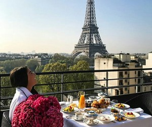 paris, breakfast, and flowers image