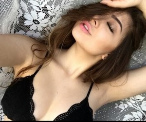 bra, pretty girl, and closed eyes image