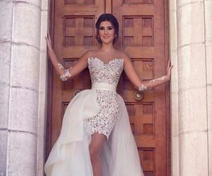 dress, groom, and wedding image