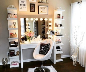 desk, makeup, and table image