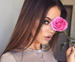 hair, brunette, and flower image