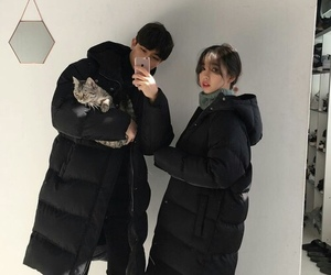 couple, ulzzang, and cat image