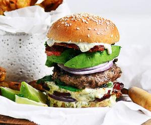 food, hamburger, and yummy image