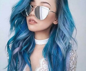 blue, cabello, and hair image
