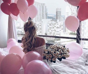 balloon, girl, and pink image