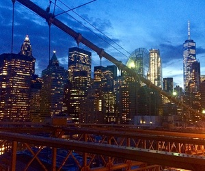 brooklyn bridge, lights, and night image