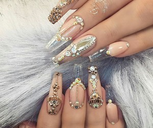 nails, gelnails, and daimonds image