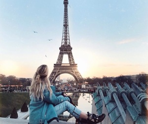 girl, paris, and eiffel tower image