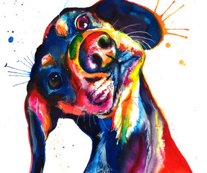 etsy, watercolor, and wiener dog image