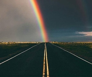 rainbow, road, and wallpaper image