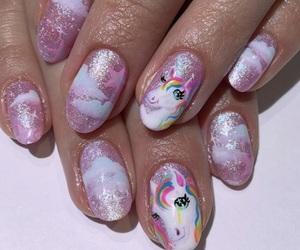 cool, nails, and unicorn image