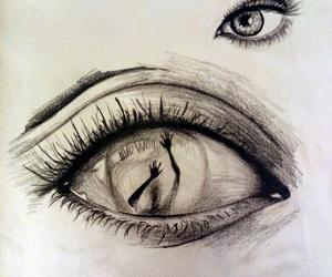 drawing, deep, and eyes image
