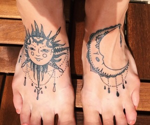 foot, foot tattoo, and moon image