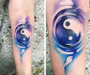 acuarela, tatto, and ying yang image