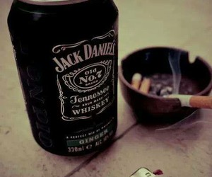 jack daniels, smoke, and cigarette image