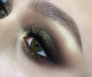 gold, makeup, and green image