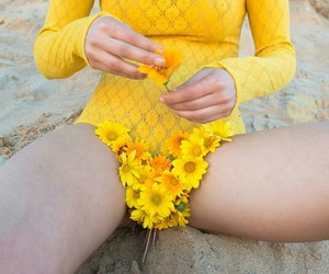 body, flowers, and yellow image