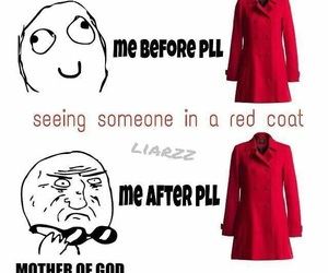 funny, pll, and red coat image